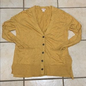 Button down V-neck mustard yellow casual cardigan